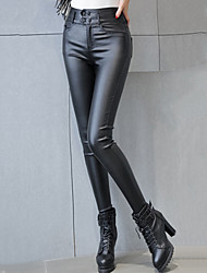 Women's Solid Black Skinny Pants Sexy / Street chic Casual High Waist Fashion Slim Thin Fall / Winter PU