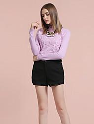 Mulheres Calças Simples Shorts Lã / Poliéster Sem Elasticidade Mulheres