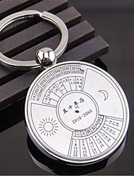 Creative 360 - Degree Rotating Car Pendant Custom Calendar In The English Version Of The Metal Key Ring