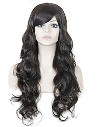 Long Wavy Hair Wig with Bangs Dark Brown Color Synthetic Wigs for Women