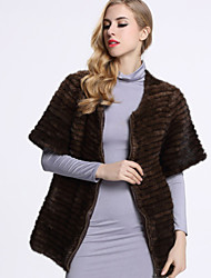 BF-Fur Style Women's Casual/Daily Sophisticated Fur CoatSolid Round Neck Short Sleeve Winter Black / Brown Others
