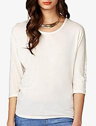 Tee-shirt Femme,Lettre Décontracté / Quotidien simple Eté / Automne Manches ¾ Col Arrondi Blanc Polyester Fin