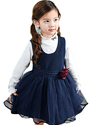 Girl's Casual/Daily Solid Dress,Wool Spring / Fall Blue / Red