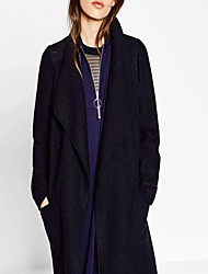 Women's Going out / Casual/Daily Simple Coat,Solid Shirt Collar Long Sleeve Fall / Winter Black Rabbit Fur / Linen / Polyester Medium