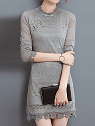 Women's Lace Plus Size / Going out / Casual/Daily Vintage / Street chic / Chinoiserie Lace DressSolid Crew Neck Long Sleeve