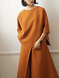 Tee-shirt Femme,Couleur Pleine Décontracté / Quotidien Vintage Printemps / Automne ½ Manches Col Arrondi Orange Polyester Moyen