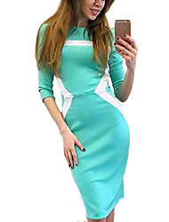 Women's Going out / Formal / Party/Cocktail Sexy Bodycon Dress,Color Block Round Neck Knee-length Long Sleeve Blue / Red / BlackCotton /