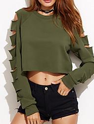 Women's Casual/Daily Sexy Regular HoodiesSolid Green Round Neck Long Sleeve Cotton Fall / Winter Medium Micro-elastic