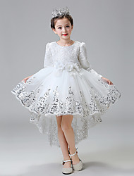 Ball Gown Asymmetrical Flower Girl Dress - Lace / Tulle Long Sleeve Jewel with Flower(s) / Sequins