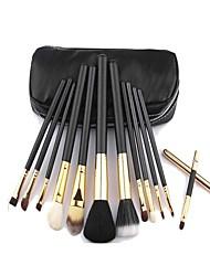 12 Makeup Brushes Set Goat Hair Portable Wood Face