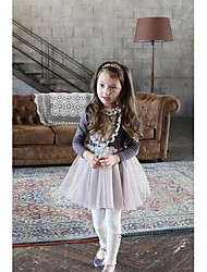 Girl's Casual/Daily Solid DressCotton Spring / Fall Purple / Gray