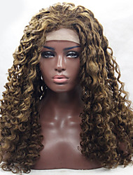 Factory Price Long Deep Curly Light Brown Synthetic Lace Front Wig Heat Resistant
