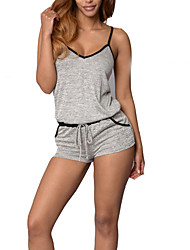 Women's Solid Gray JumpsuitsSimple Strap Sleeveless