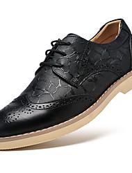 Men's Oxfords Formal Shoes Bullock shoes Cowhide Fall Winter Casual Formal Shoes Bullock shoes Lace-up Flat Heel Black Dark BrownUnder