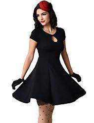 Trapèze Robe Femme Sortie / Décontracté / Quotidien Vintage,Couleur Pleine Col Arrondi Mini Manches Courtes Rouge / NoirPolyester /