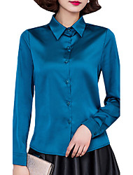 Spring Fall Fashion Go out Women's Tops Solid Color Shirt Collar Long Sleeve Shirt