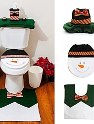 1 ensembles bonhomme de neige heureux noël salle de bain siège de toilette mis noël couverture tapis décoration année  de