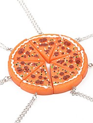 Necklace Pizza Pendant Necklace Orange 1pcs for Women Close Friend