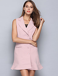 Women's Casual/Daily Sophisticated Jackets,Solid Notch Lapel Sleeveless Fall / Winter Blue / Pink Cotton Medium