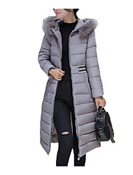 Women's Long Down Coat Print-Cotton / Polyester Polyester / Cotton Long Sleeve Round Neck Black / Gray