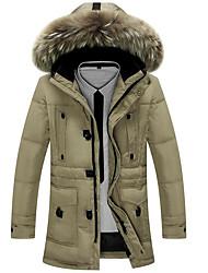 Пальто Простое Пуховик Мужчины,Однотонный На каждый день / Большие размеры Полиэстер Пух белого гуся,Длинный рукавЧерный / Коричневый /