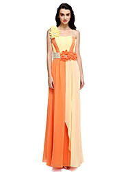 Formal Evening Dress - Color Block Sheath / Column One Shoulder Floor-length Chiffon with Draping Flower(s)