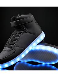 Garçon-Sport-Noir Bleu Blanc-Talon Plat-Confort Light Up Chaussures-Baskets-Cuir Polyuréthane