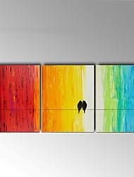 Ручная роспись Натюрморт / Животное Картины маслом,Классика / Пастораль 3 панели Холст Hang-роспись маслом For Украшение дома
