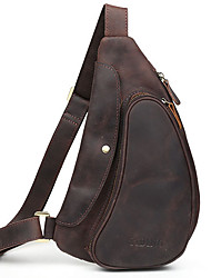 Men Bags Spring Summer Fall All Seasons Cowhide Sling Shoulder Bag with for Casual Sports Outdoor Brown