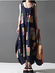 Ample Courte Robe Femme Sortie Décontracté / Quotidien Grandes Tailles Vintage,Mosaïque Col Arrondi Maxi Sans Manches Bleu Lin EtéTaille