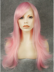 IMSTYLE22''Cosplay Pink Natural Straight Machine No Lace Wigs Synthetic Heat Resistant Fiber