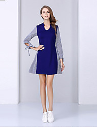 NEDO Women's Casual/Daily Simple Sheath DressStriped / Patchwork V Neck Above Knee Long Sleeve Blue
