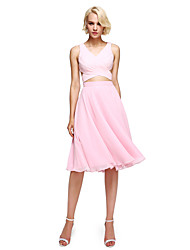 2017 Lanting Bride® Knee-length Georgette Elegant / Color Block Bridesmaid Dress - A-line with Criss Cross