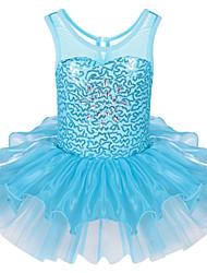 brilhantes vestidos de ballet tutus lantejoulas sem mangas criança da menina com luz azul saia plissado