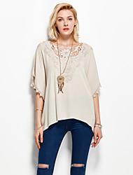 Damen Solide Einfach Urlaub T-shirt,Rundhalsausschnitt Sommer Kurzarm Weiß / Grau Kunstseide Dünn