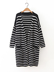 Women's Casual/Daily Simple Long Cardigan,Striped White / Black / Gray V Neck Long Sleeve Cashmere / Polyester Fall / Winter Medium