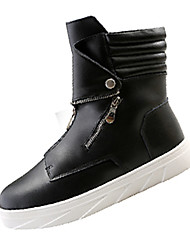 Men's Boots Spring / Fall Comfort PU Casual Flat Heel Slip-on Black / Red / White Sneaker