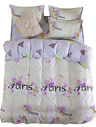 Mingjie Wonderful Purple Flowers Bedding Sets 4PCS the Love of Paris for Twin Full Queen Size