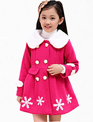 Girl's Casual/Daily Embroidered Down & Cotton Padded,Polyester Winter / Spring / Fall Red / Yellow