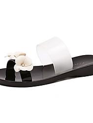 Women's Sandals Summer Slingback PVC Casual Flat Heel Flower Black / Pink Others