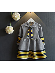 Girl's Going out Check DressCotton Spring / Fall Gray