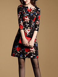 Women's Casual/Daily Sexy Sheath DressFloral V Neck Black Polyester Fall / Winter Mid Rise Inelastic Medium