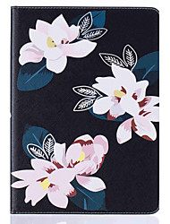 Lily Pattern Painted PU Leather Material Card Flat Shell for  ipad Air  Air 2
