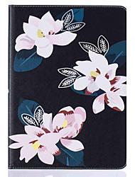 Pour Porte Carte Avec Support Clapet Motif Coque Coque Intégrale Coque Fleur Dur Cuir PU pour Apple iPad Air 2 iPad Air