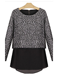Women's Casual/Daily Boho Regular Pullover,Color Block Gray Round Neck Long Sleeve Others Fall / Winter Medium Micro-elastic