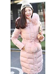 Manteau Doudoune Femme simple Décontracté / Quotidien Couleur Pleine-Polyester Duvet de Canard Blanc Manches Longues Rose / Noir / Gris
