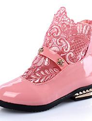 Girls' Boots Fall Winter Comfort PU Dress Casual Flat Heel Zipper White Black Blushing Pink Walking