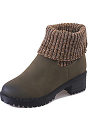 Women's Fashion Boots Two Wear Wool Knitted Leather Shoes Casual Chunky Heel Slip-on EU36-39