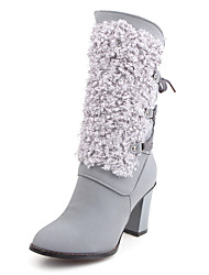 Women's Boots Fall / Winter Fashion Boots Fur / Fleece Party & Evening / Dress / Casual Chunky Heel Lace-up