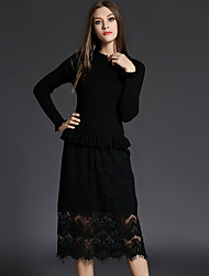 Women's Plus Size / Going out Sophisticated Lace DressEmbroidered Round Neck Midi Long Sleeve Black Polyester